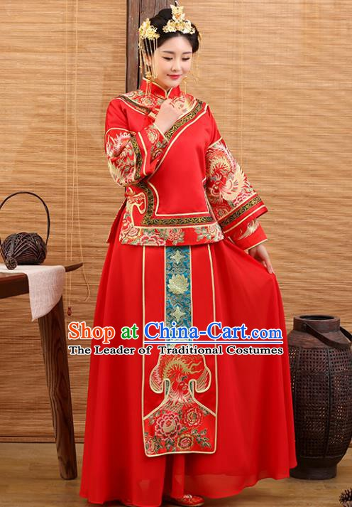 Traditional Ancient Chinese Costume Xiuhe Suits Wedding Embroidered Red Clothing for Women