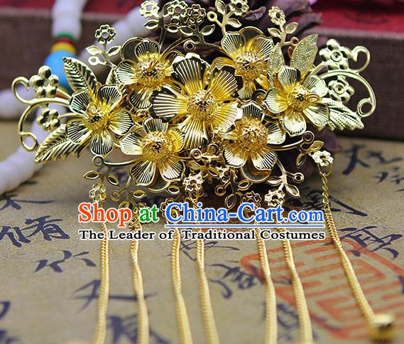 Handmade Chinese Ancient Palace Lady Hair Accessories Hanfu Hairpins Golden Tassel Hair Comb for Women