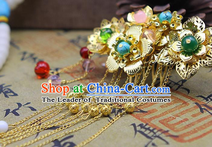 Handmade Chinese Ancient Palace Lady Hair Accessories Hanfu Hairpins Tassel Hair Comb for Women