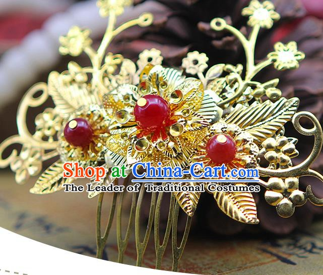 Handmade Chinese Ancient Palace Lady Hair Accessories Hanfu Hairpins Golden Hair Comb for Women