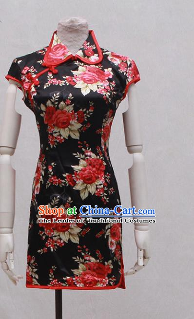 Traditional Ancient Chinese Black Qipao Dress Painting Rose Black Cheongsam Clothing for Women