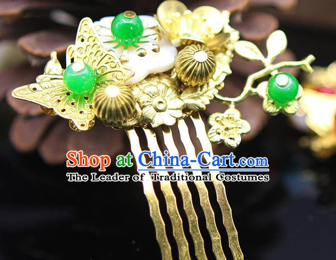 Handmade Chinese Ancient Palace Lady Hair Accessories Hanfu Golden Butterfly Hair Comb Hairpins for Women