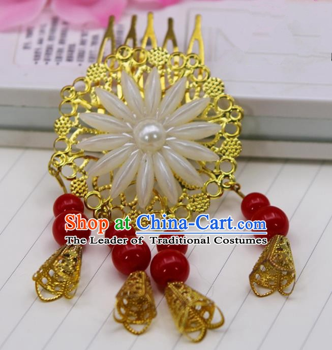Handmade Chinese Ancient Palace Lady Hair Accessories Hanfu Red Beads Hair Comb Hairpins for Women