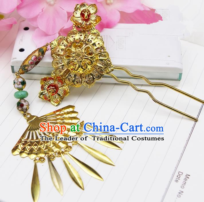 Handmade Chinese Ancient Palace Lady Hair Accessories Hanfu Golden Tassel Hairpins for Women