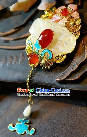 Asian Chinese Traditional Handmade Jewelry Accessories Brooch Jade Breastpin for Women