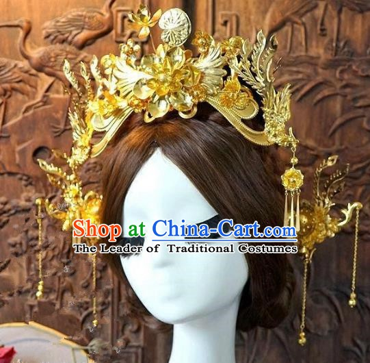 Chinese Handmade Classical Hair Accessories Ancient Hanfu Golden Hairpins Bride Phoenix Coronet for Women