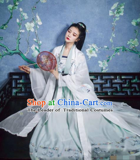China Ancient Tang Dynasty Palace Princess Embroidered Costume Complete Set for Women
