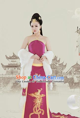 China Ancient Tang Dynasty Imperial Consort Sexy Dress Embroidered Hanfu Costume for Women