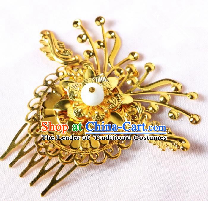 Handmade Asian Chinese Ancient Palace Lady Hair Accessories Hanfu Golden Butterfly Hair Comb for Women