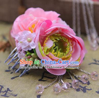 Handmade Asian Chinese Ancient Palace Lady Hair Accessories Hanfu Pink Flowers Hair Comb for Women