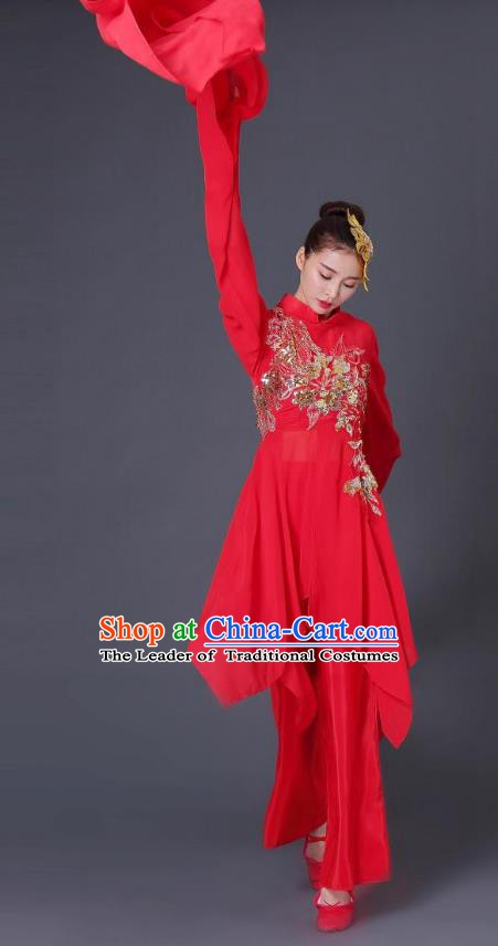 Traditional Chinese Classical Dance Water Sleeve Red Costume, China Folk Dance Yangko Clothing for Women