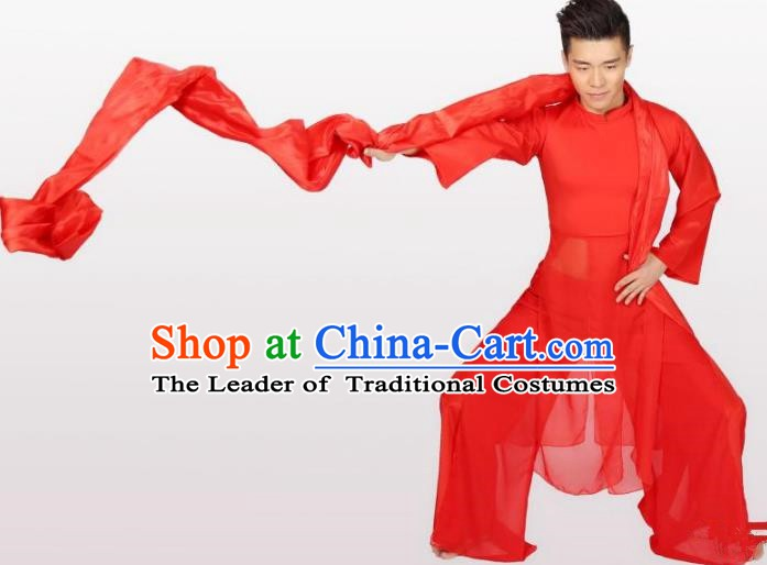 Traditional Chinese Classical Drum Dance Red Costume, China Folk Dance Yangko Clothing for Men