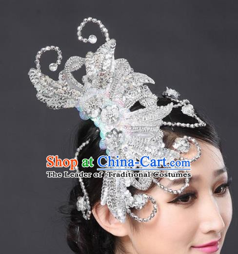 Chinese Classical Yangge Folk Fan Dance Hair Accessories Yangko Paillette Headwear for Women