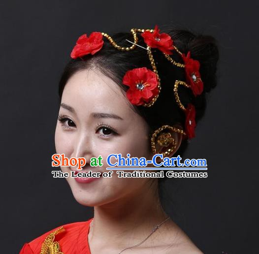Chinese Classical Yangge Folk Fan Dance Hair Accessories Yangko Red Flowers Headwear for Women