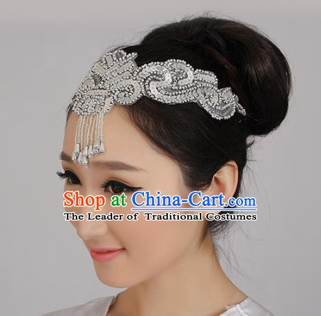 Chinese Classical Yangge Folk Fan Dance Hair Accessories Yangko Tassel Headwear for Women