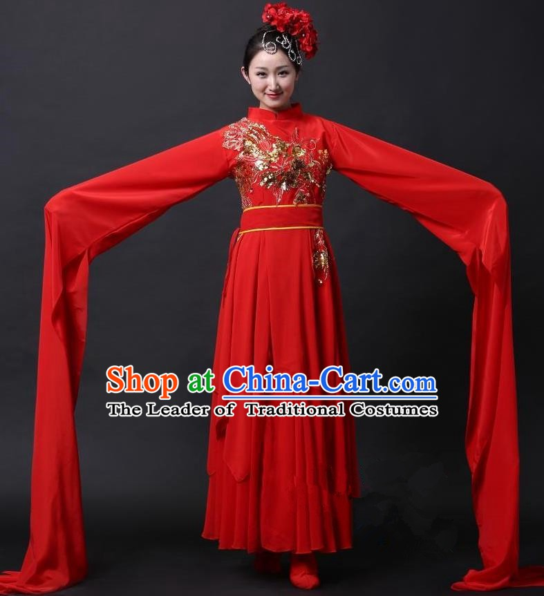 Traditional Chinese Classical Yangge Dance Water Sleeve Costume, China Yanko Folk Dance Clothing for Women