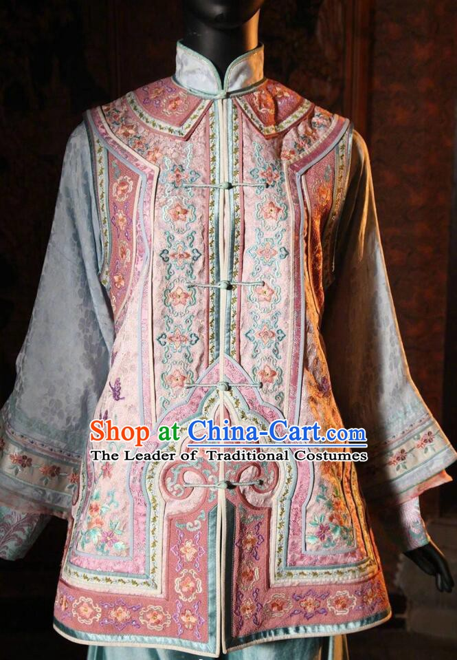 Traditional Chinese Qing Dynasty Manchu Princess Embroidered Costume for Women
