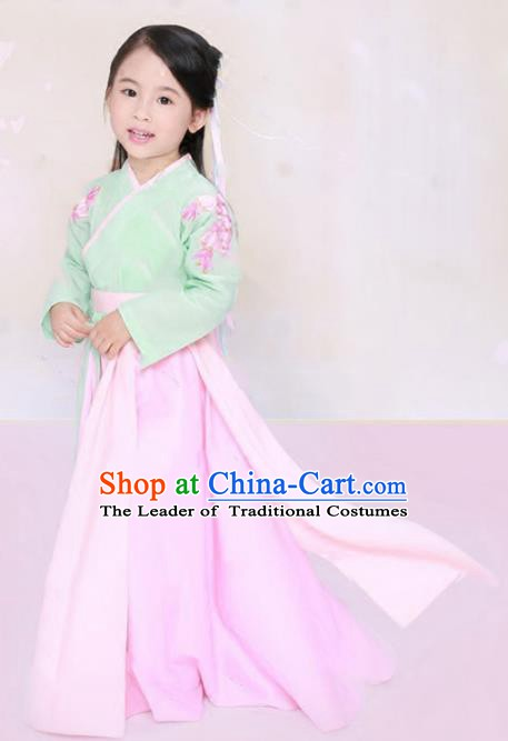 Traditional Chinese Ming Dynasty Palace Princess Embroidered Costume for Kids