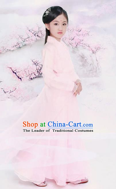 Traditional Chinese Han Dynasty Palace Princess Costume Ancient Fairy Dress and Headpiece for Kids
