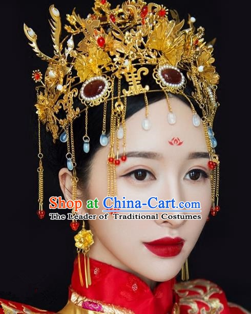 Chinese Handmade Classical Hairpins Ancient Wedding Phoenix Coronet Headdress Complete Set for Women