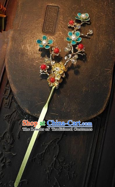 Chinese Handmade Classical Hair Accessories Wintersweet Hairpins Ancient Hair Clip Headdress for Women