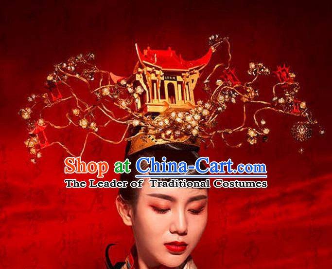 Chinese Handmade Classical Hair Accessories Ancient Wedding Headdress Bride Phoenix Coronet for Women