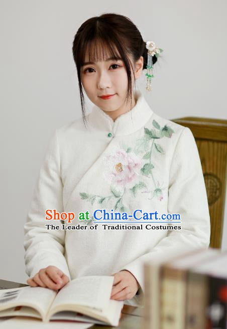 Traditional Chinese National Costume Cheongsam Blouse Tangsuit Embroidered Peony Coats for Women