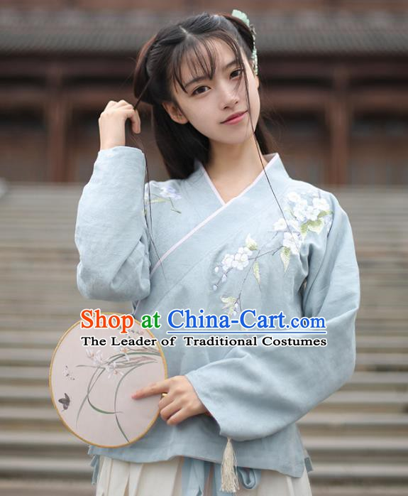 Traditional Chinese National Costume Cheongsam Blouse Tangsuit Embroidered Blue Shirts for Women