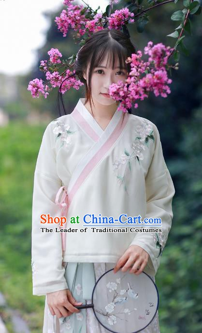 Traditional Chinese National Costume Embroidered White Blouse Tangsuit Cheongsam Shirts for Women