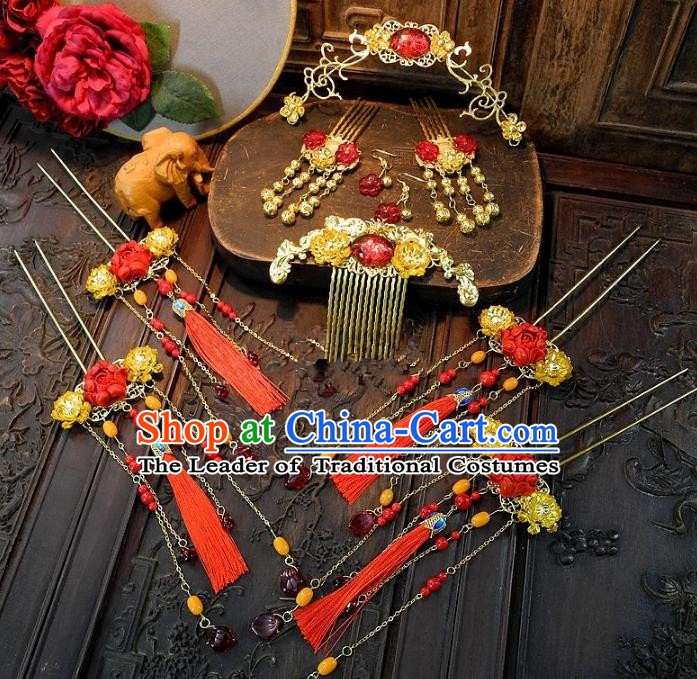 Chinese Handmade Classical Wedding Hair Accessories Ancient Bride Red Tassel Hairpins Complete Set for Women