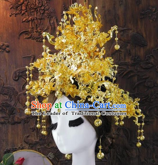 Chinese Handmade Classical Empress Golden Phoenix Coronet Ancient Hanfu Wedding Headdress Hair Accessories for Women