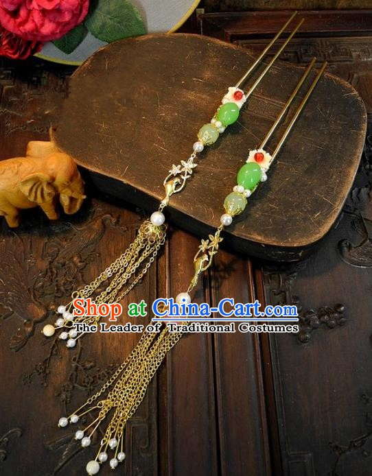 Chinese Handmade Classical Tassel Hairpins Ancient Hanfu Wedding Headdress Hair Accessories for Women