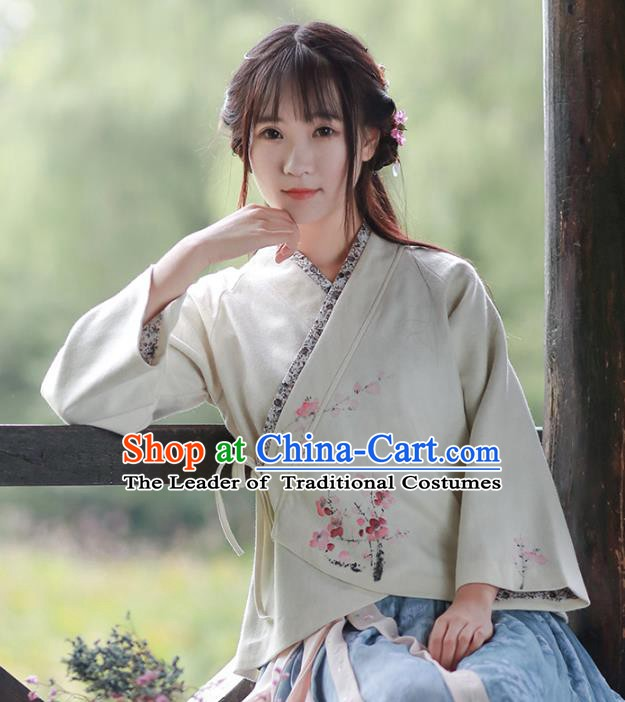 Traditional Chinese National Costume Embroidered Blouse Tang Suit Hanfu Shirts for Women
