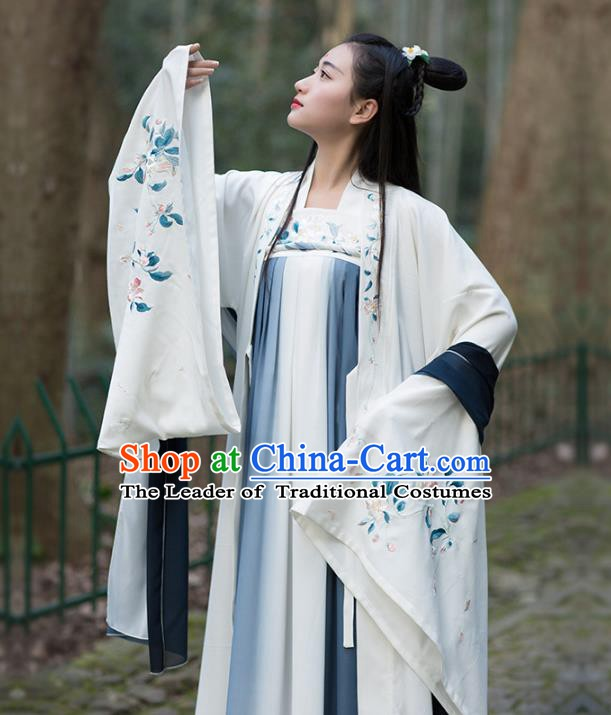 Traditional Chinese Ancient Jin Dynasty Princess Costume Embroidered Hanfu Cardigan for Women