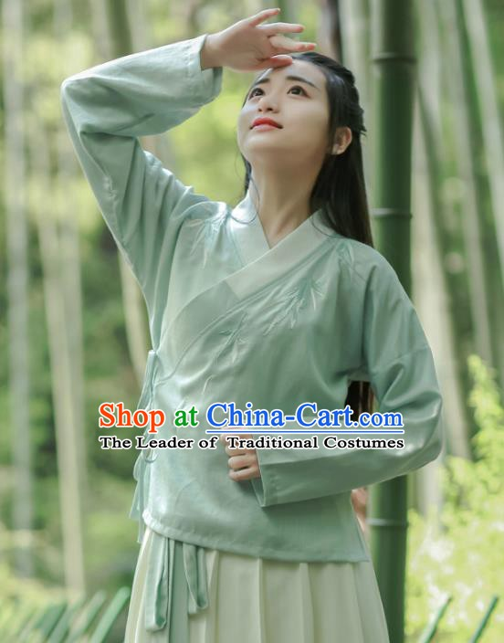 Traditional Chinese National Costume Embroidered Cheongsam Blouse Green Hanfu Shirts for Women