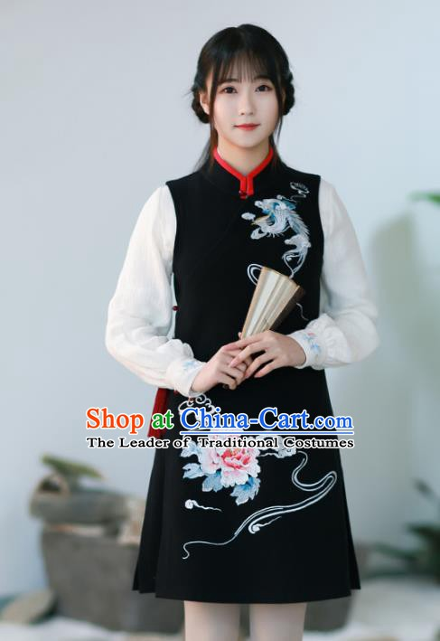 Traditional Chinese National Costume Embroidered Hanfu Black Vests Tang Suit Shirts for Women