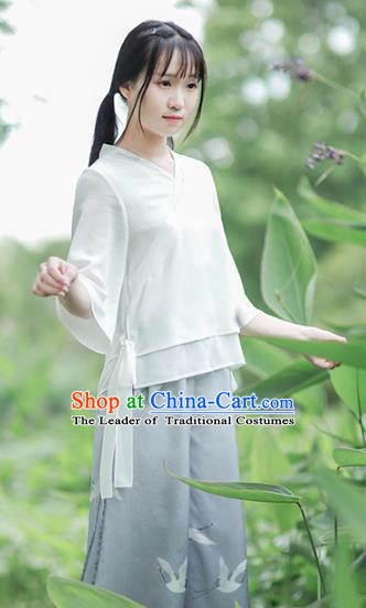 Traditional Chinese National Costume Embroidered White Shirts Hanfu Cheongsam Blouse for Women
