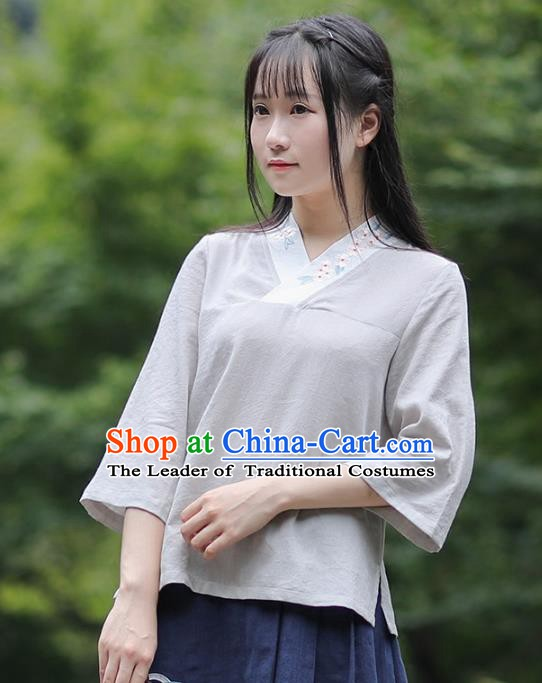 Traditional Chinese National Costume Embroidered Grey Shirts Hanfu Cheongsam Blouse for Women