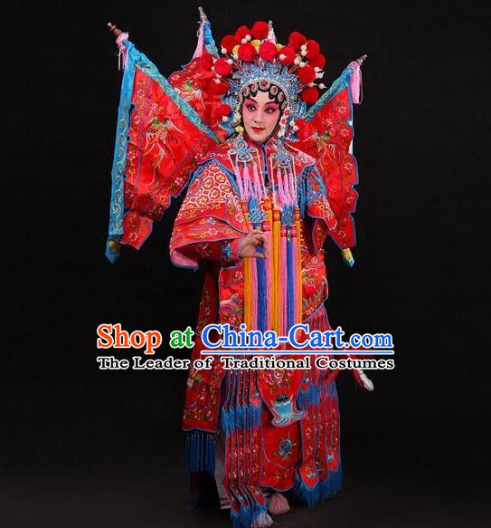 Traditional Chinese Beijing Opera Swordplay Red Costume Peking Opera Blues Embroidered Clothing for Women