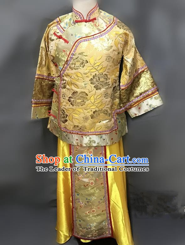 Traditional Chinese Qing Dynasty Young Mistress Costume Ancient Embroidered Yellow Xiuhe Suit for Women