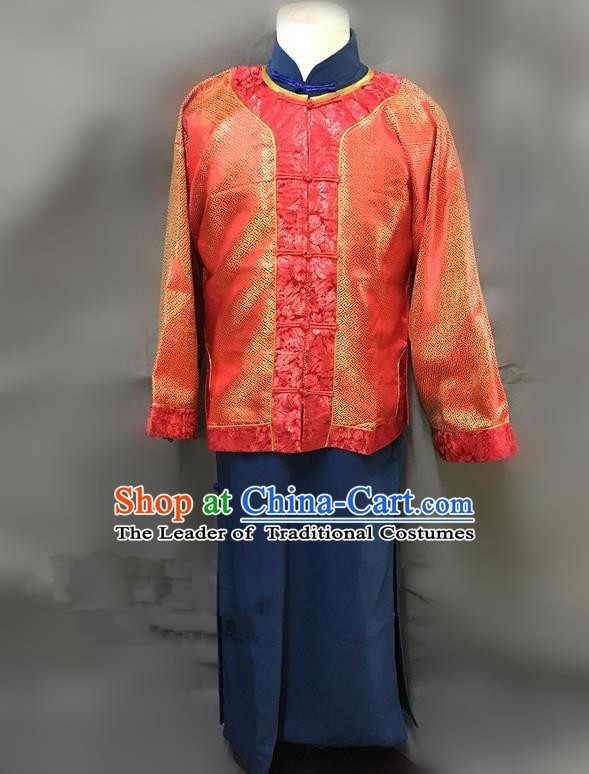 Traditional Chinese Stage Performance Red Costume Ancient Qing Dynasty Nobility Master Clothing for Men