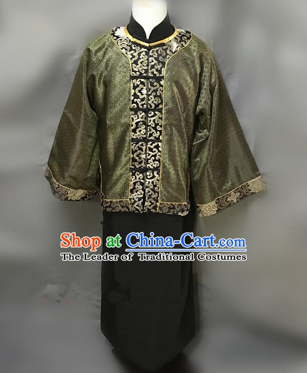Traditional Chinese Stage Performance Costume Ancient Qing Dynasty Master Clothing for Men