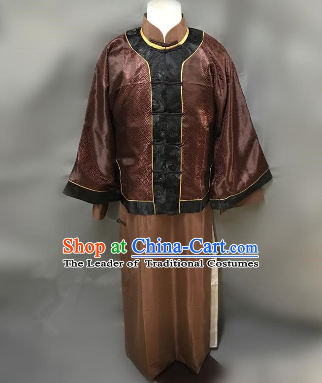 Traditional Chinese Stage Performance Costume Ancient Qing Dynasty Landlord Clothing for Men