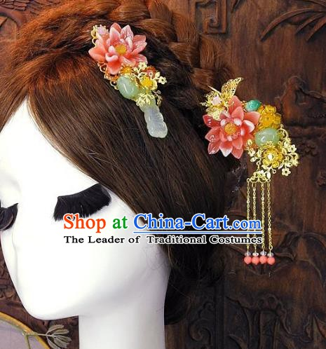 Chinese Handmade Classical Wedding Hair Accessories Ancient Hanfu Tassel Hairpins Hair Comb for Women