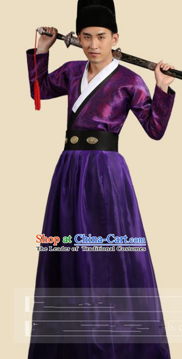 Traditional China Ancient Song Dynasty Imperial Bodyguard Costume Swordsman Purple Robe Clothing for Men