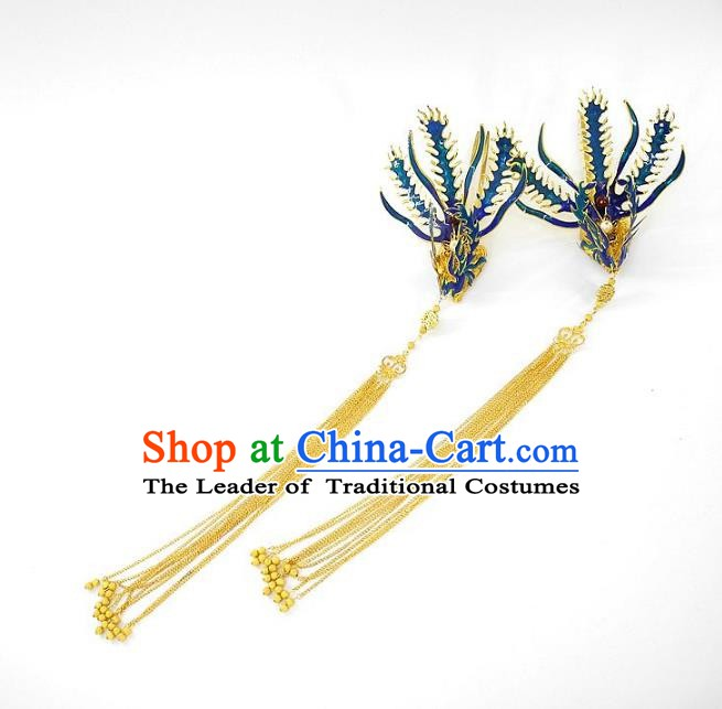 Chinese Handmade Classical Wedding Hair Accessories Ancient Hanfu Hairpins Tassel Phoenix Step Shake for Women