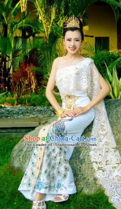 Traditional Asian Thailand Stage Performance Costume National Printing Peacock Dress for Women