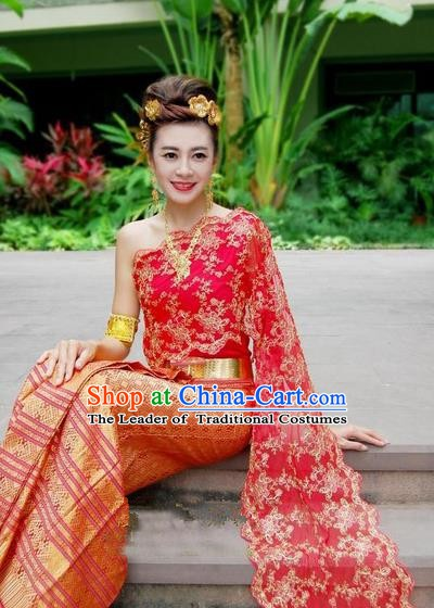 Traditional Asian Thailand Stage Performance Costume National Red Dress for Women