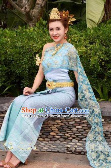 Traditional Asian Thailand Stage Performance Costume National Blue Dress for Women