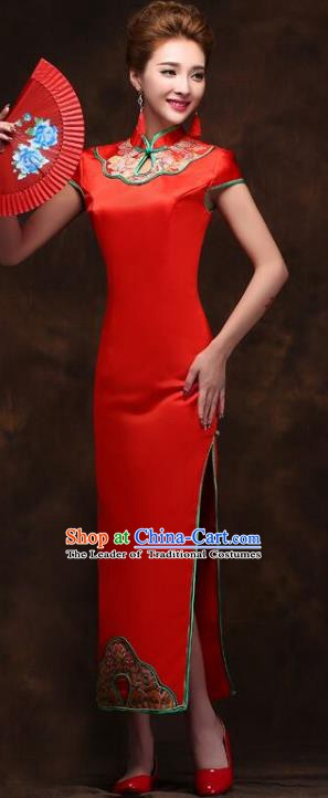Traditional Chinese National Wedding Costume Red Long Cheongsam Dress for Women
